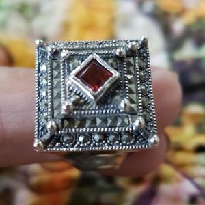 Sterling Silver and Marcasite with Garnet Ring